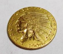 1909 $ 2.5 Gold Indian AU Plus Grade
