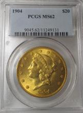 1904 MS 62 $ 20 Gold Liberty PCGS