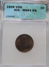 1909 VDB MS 64 RED PCGS Wheat Cent