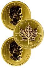 (3) 1 Oz. Gold Maple Leaf's Random Dates