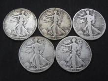 Lot of (5) Walking Liberty Half Dollars From Cache