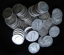 Roll of 50 Mercury Dimes from Large Hoard
