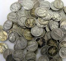 Large Lot of Mercury Dimes-100