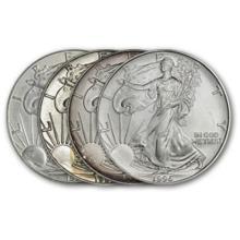 Lot of (4) Random Date US Silver Eagles