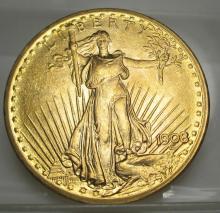 1908 $20 Gold Saint Gauden's Double Eagle
