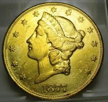1877 S Better Date $ 20 Gold Liberty Double Eagle
