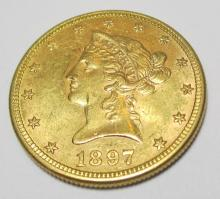 NICE 1897 $ 10 Gold Eagle BU Plus