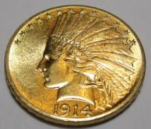 1914 D $10 Gold Indian Mint Luster