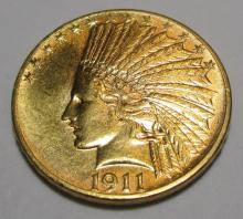 1911 $ 10 Gold Indian Mint Luster Coin