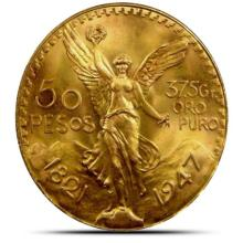 1947 Mexican Gold 50 peso Beautiful Luster