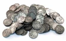 Lot of (100) Walking Liberty Half Dollars