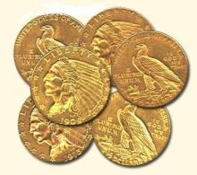 Lot of (6) $ 2.5 Dollar Gold Indian Coins