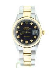 Black Diamond Dial Rolex-14k Stainless-$12,750 Est