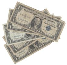 Lot of (5) Circulated Silver Certificates