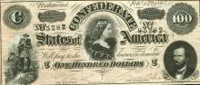 AU Plus Grade $ 100 Confederate Currency 1864