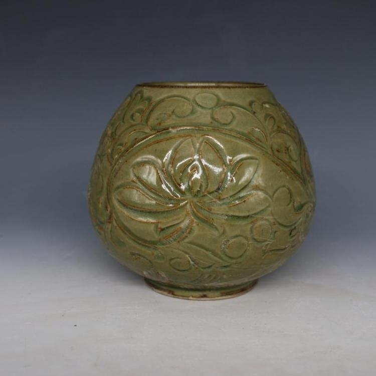 Chinese Song Dynasty Carved Flower Porcelain Ewer