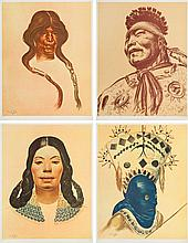 Boleslaw Cybis (1895 - 1957) Set of 9 graphics, Folio One of American Indian, 1970