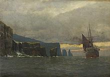 Michael Zeno Diemer (1867 - 1939), Steamer next to the Rocks