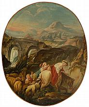 Jean Baptiste Deshays, attributed (1729 - 1765) The pastoral scene at the bridge, circa 1758-1765