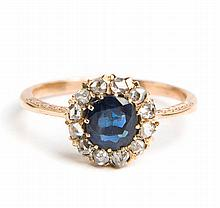 Ring with sapphire, 19th/20th Century