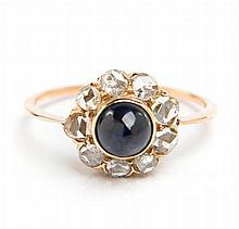 Ring with sapphire and rose-cut diamonds, Early 20th Century