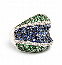 Ring with tsavorites, Western Europe, 20th Century