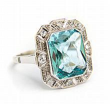 Ring with aquamarine, Vienna, Art Déco, 1920s-30s