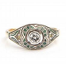 Ring decorated with enamel, Art Déco, 1920s-30s