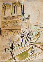 Mela Muter (Maria Melania Mutermilch) (1876 - 1967) Notre-Dame Cathedral in Paris, 1945