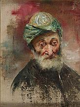 Stanislaw Kaczor-Batowski (1866 - 1946) Portrait of the old man in turban, 1897