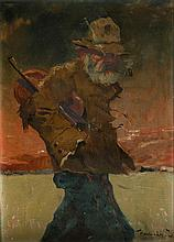 J. Kasnair, 20th Century, Hobo with violin