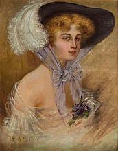 Karol Haimroth, 20th Century, Lady in hat - portrait, 1910