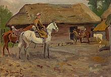 Aleksander Sarnowicz (1878 - 1938) Uhlans at the front of hut