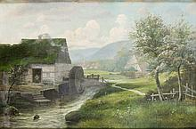 Henry Otto, 20th Century, Landscape with mill