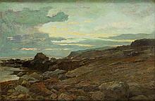 Anders Andersen-Lundby  (1840 - 1923) Landcape with rocky waterside