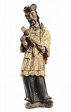A polychrome wooden statue of St. John Nepomucene,