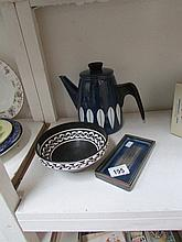 A Catherin Holm of Norway teapot, Gustav Berg pin tray and a Larholm dish