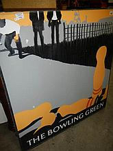 A pair of metal signs from 'The Bowling Green pub' Lincoln