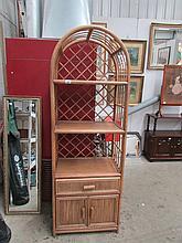 A bamboo shelf unit
