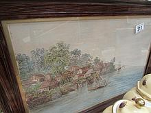 A framed watercolour river scene signed Lewis '91 (possibly Leonard Lewis 1