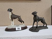 2 boxer dog figures