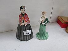 An old Staffordshire figure 'Grandma' and a Royal Worcester figure 'Laura'