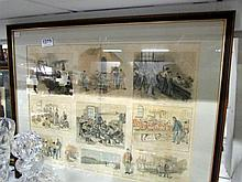 A framed and glazed collage of sketches of the Gordon Memorial home for boy