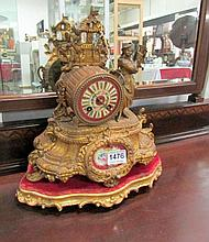 A French mantel clock with porcelain panels