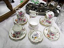 A 14 piece Royal Crown Derby tea set and a small bowl