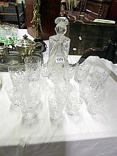 2 decanters and a mixed lot of glasses