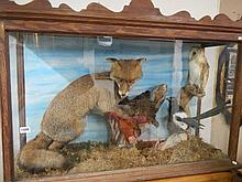 A cased taxidermy scene of fox, chicken, owl and magpie