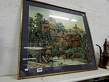 'The Old Watermill' collage of old postage stamps