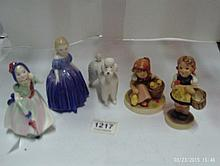 2 Goebel/Hummel figures, 2 Royal Doulton figures (Marie and Babie) and a Be