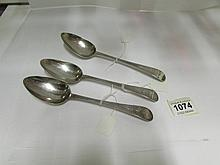3 Georgian silver serving spoons, HM London 1798-1800, Peter & Ann Bateman,